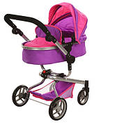 Коляска для кукол Melogo 9695 розово-фиолетовая, фото 1