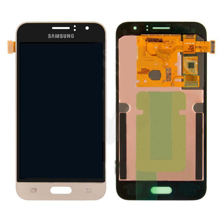 Дисплейный модуль (дисплей и сенсор) для Samsung J120 Galaxy J1 (2016), золотистый, оригинал, original glass