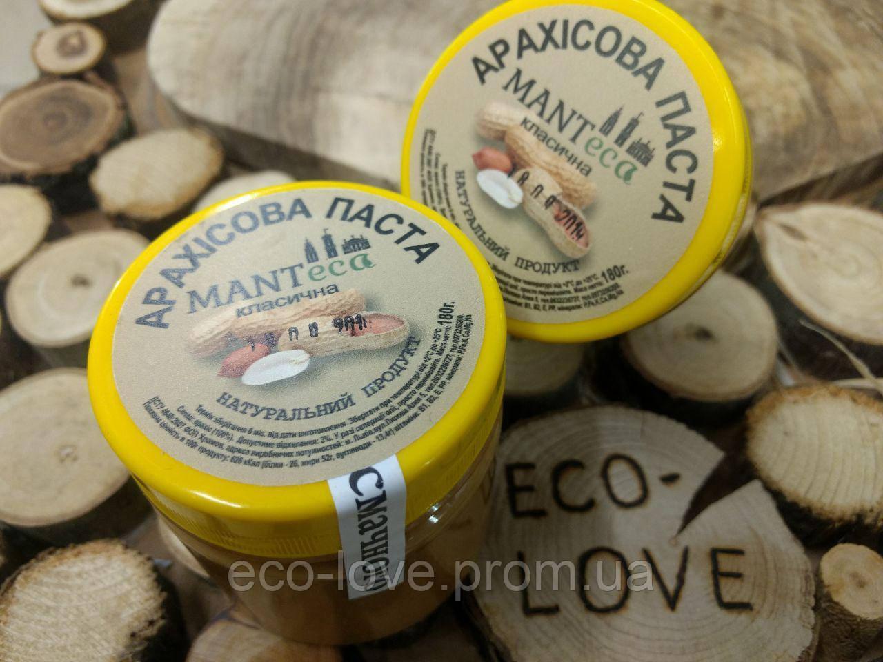 Арахісова паста класична, без цукру і солі, 180гр ТМ MANTECA