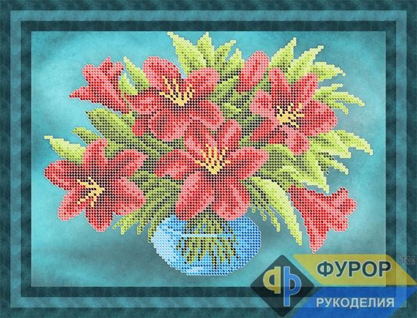 Схема для вышивки бисером картины Букет лилий в вазе (НБч4-167-1)
