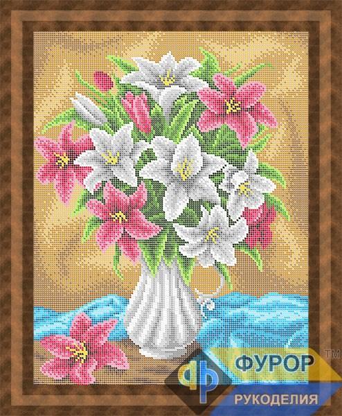 Схема для вышивки бисером картины Букет лилий в вазе (НБп3-173)