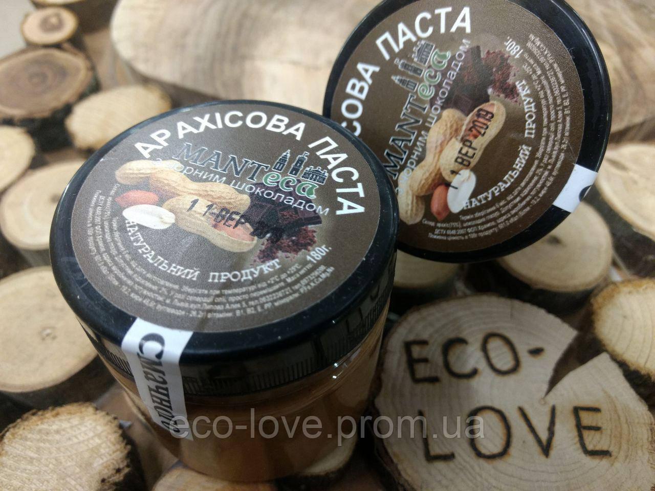 Арахисовая паста c черным шоколадом, 180гр,ТМ MANTECA