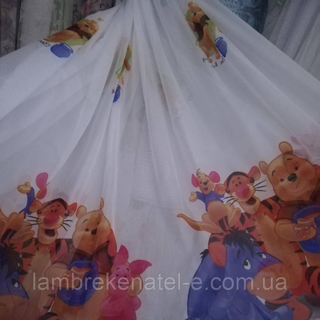 Тюль в детскую с рисунком Вини-Пух