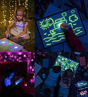 Набор для детского творчества Рисуй светом А4, Планшет для рисования в темноте, Доска для рисования
