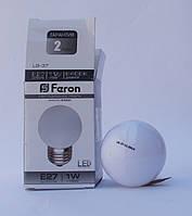 Светодиодная лампа  Feron LB-37 шарик E27 1W 6400К (белый холодный)