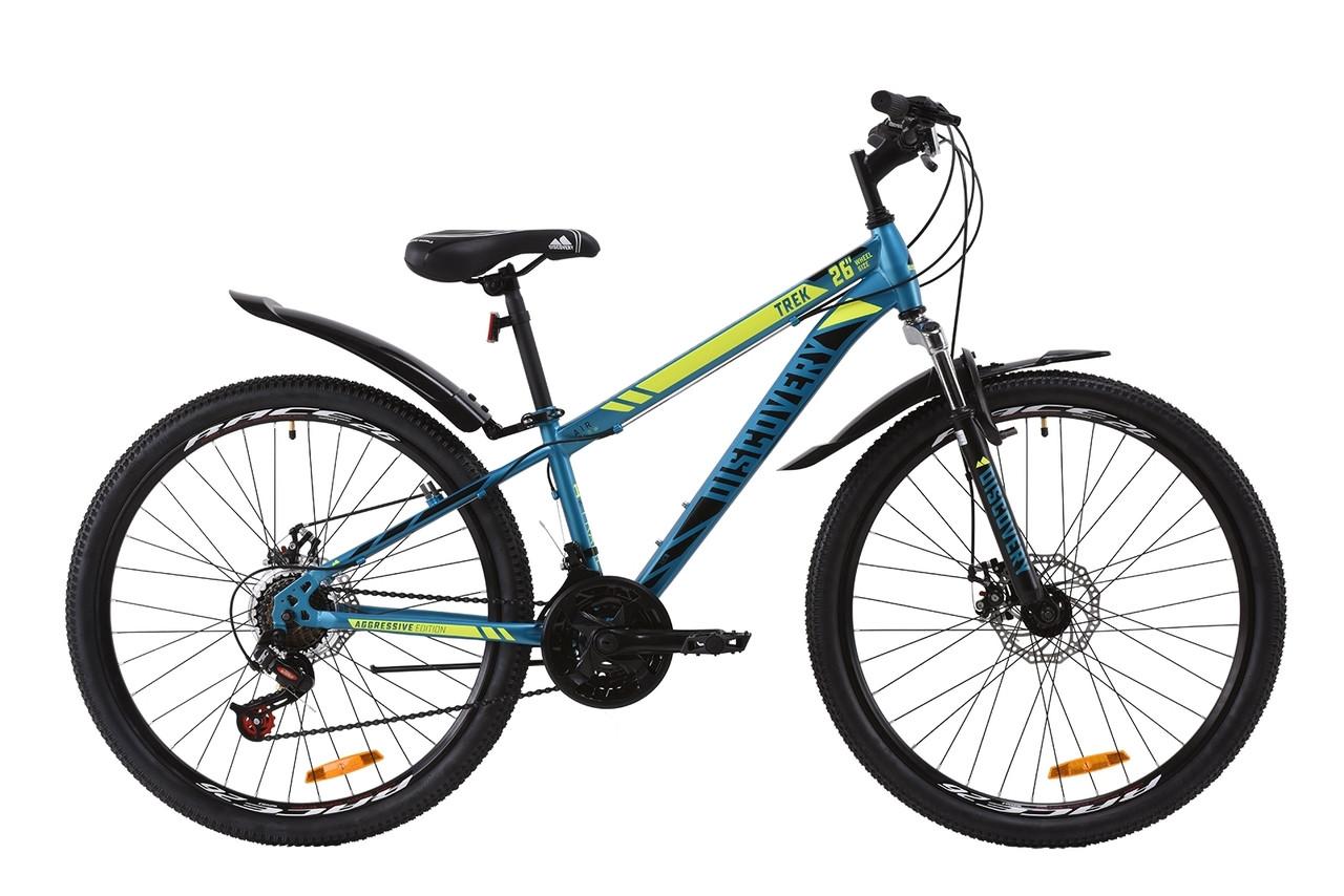"""Велосипед горный 26"""" Discovery Trek AM DD 2020, рама 15"""" и 18"""", малахитовый с желтым"""