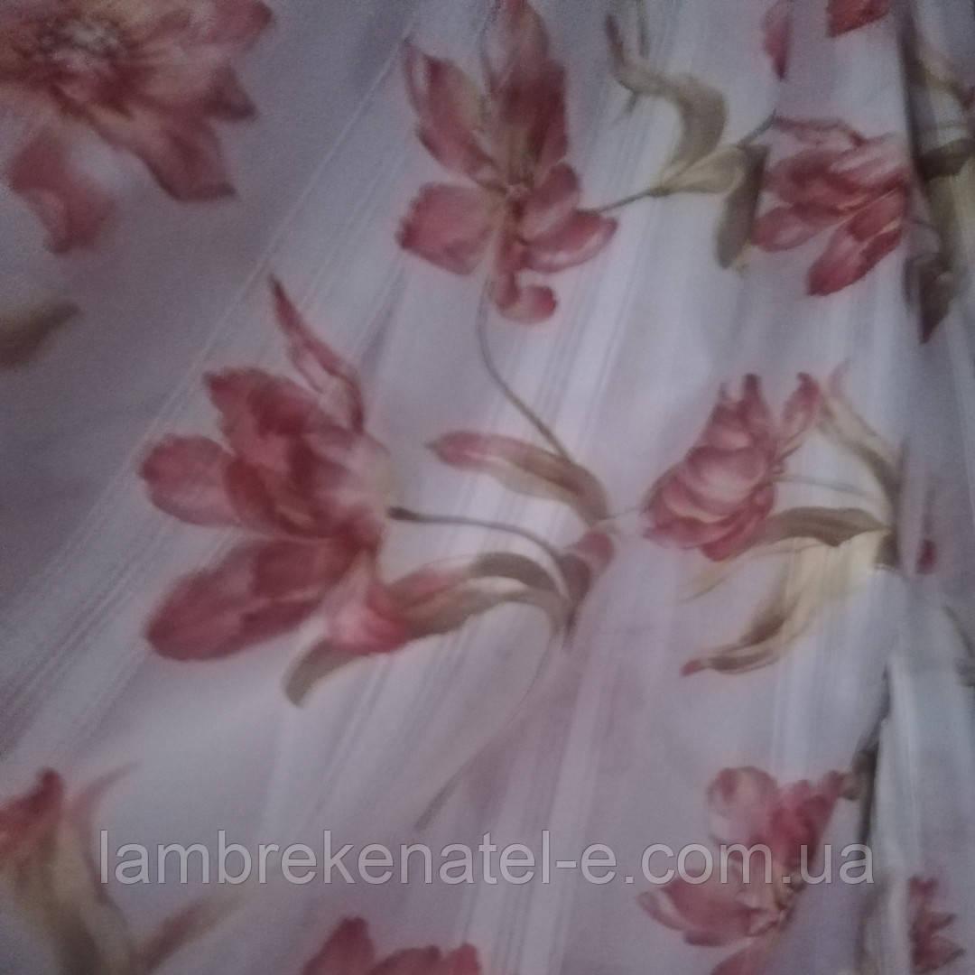 Тюль шифон красные лилии