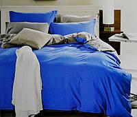 """Євро постільна білизна """"Mency"""" (сатин) блакитний, фото 1"""