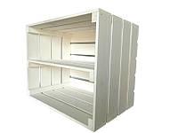 Ящик деревянный белый длинной полкой (ДхШхВ:50*40*32см)