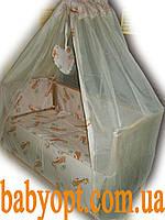 """Комплект в кроватку """"Жирафики"""" бежево розовый 8 эл. В подарок - подвеска сердечко, фото 1"""