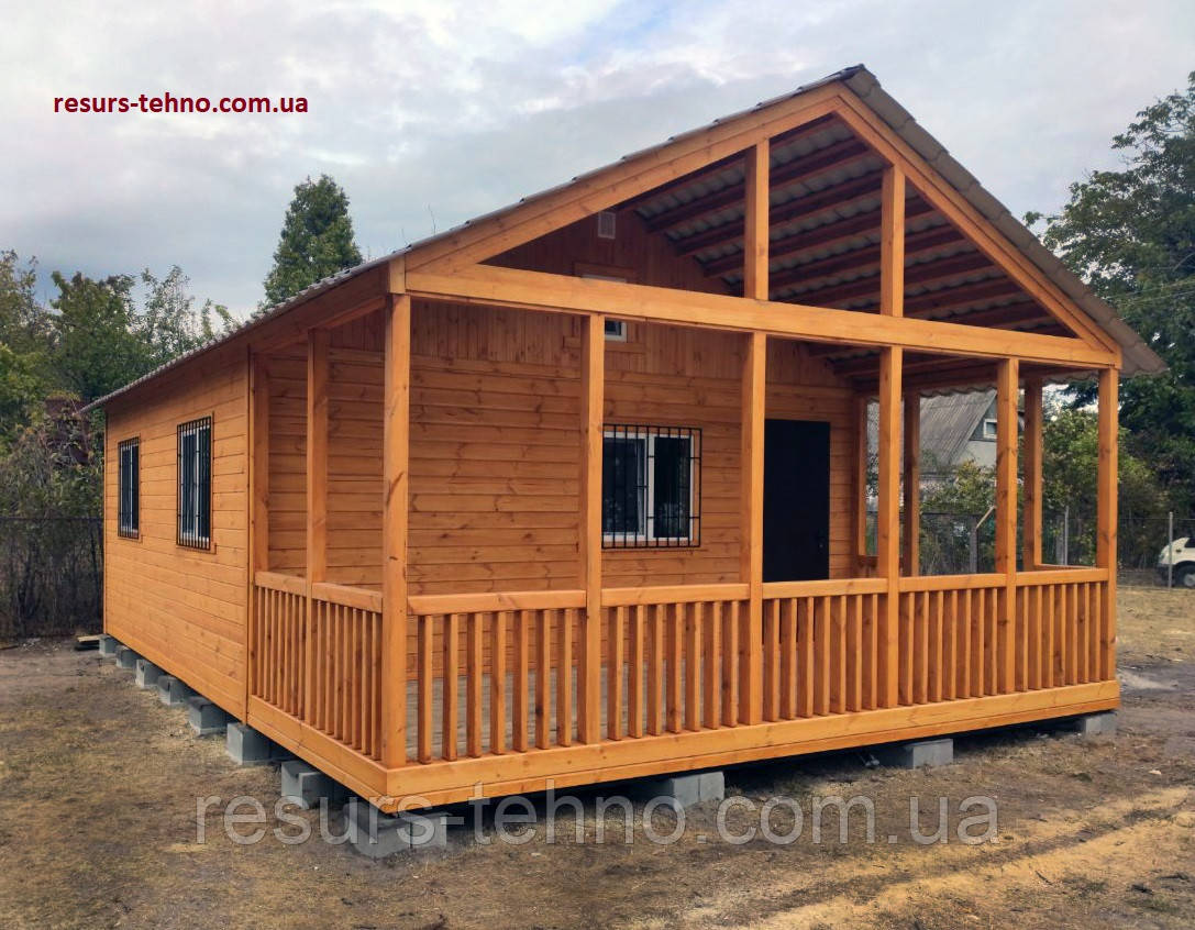 Построить дачный домик 6м х 6м. Отделка Фальшбрусом. С террассой.