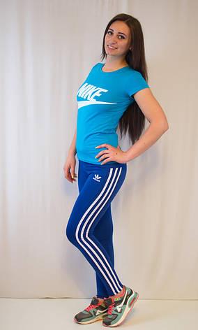 Спортивные синие лосины Adidas из ластика 42-50, фото 3