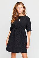 Женское черное мини платье в мелкий белый горошек, фото 1