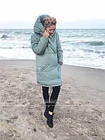 Куртка женская зимняя фисташка, нежно-розовый