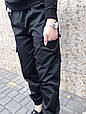 Брюки карго женские с карманами  (черные), фото 7