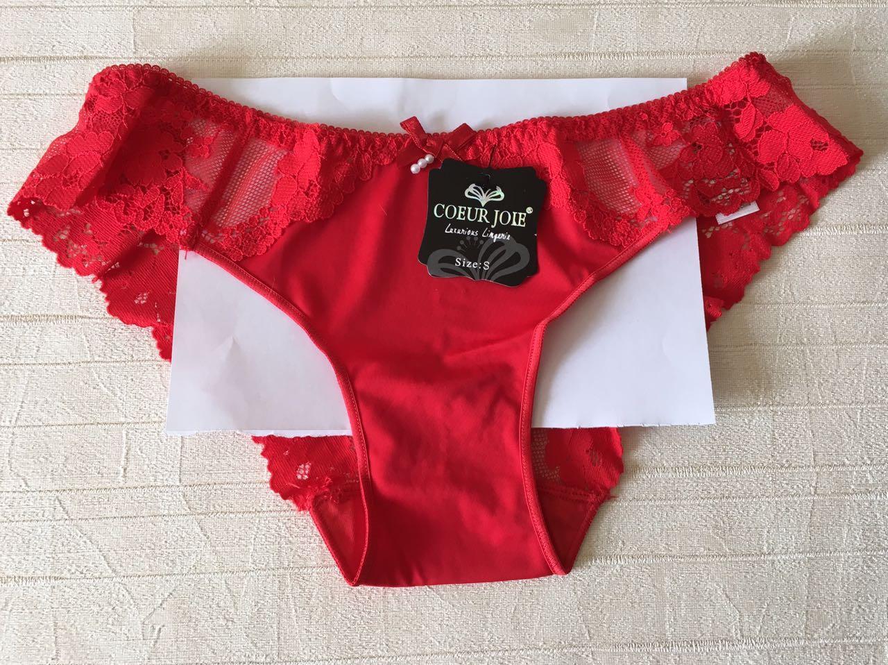 Красивые красные трусики-слип с кружевом, Coeur Joie  9866