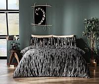 Двуспальное King Size постельное белье TAC Selina Black Сатин-Digital