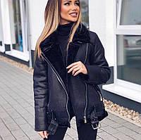 Женская теплая удлиненная дубленка Zara Woman черная