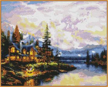 Алмазная мозаика 40×50 см. Babylon Дом в горах Художник Томас Кинкейд (ST-1113)