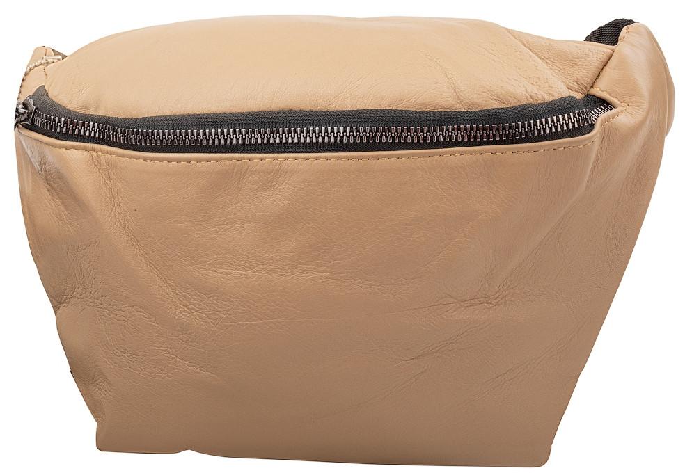 Женская поясная сумка из кожи TuNoNа бежевая