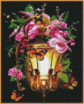 Алмазная мозаика 40×50 см. Babylon Фонарь в шиповнике (ST-225)