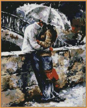 Алмазная мозаика 40×50 см. Babylon Прогулки под дождем Художник Эмерико Имре Тот (ST-314)