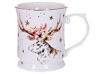 Чашка фарфоровая Новогодний олень 400 мл 924-449