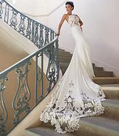 Свадебное платье русалки. Кружевное  Свадебное платье с вырезом, открытая спина