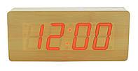 Часы настольные VST 865 светлое дерево Red Light (3_4449), фото 1