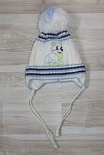 Шапка тепла на новонародженого хлопчика на флісі ,біла арт 545
