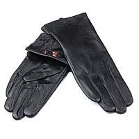 Женские кожаные перчатки, черные, подкладка флис. Без тиснения