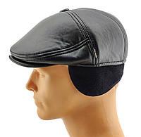Реглан мужские кепки остался 56 58 60 размер зимняя утепленная теплая с ушами заменитель кожи черная кепка