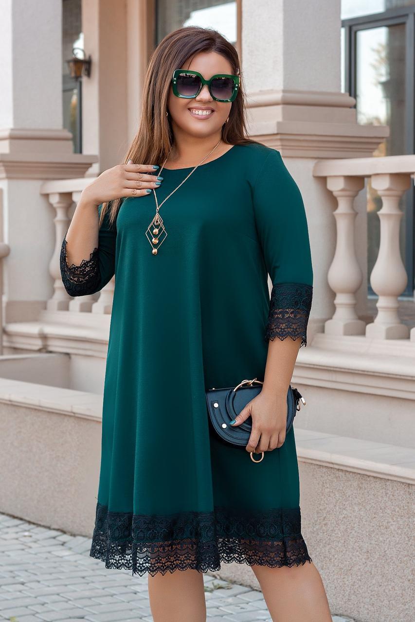 Коктейльное платье с кружевом больших размеров 48-58
