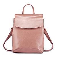 Рюкзак сумка женский кожаный с клапаном. Трансформер из натуральной кожи  (пудра)