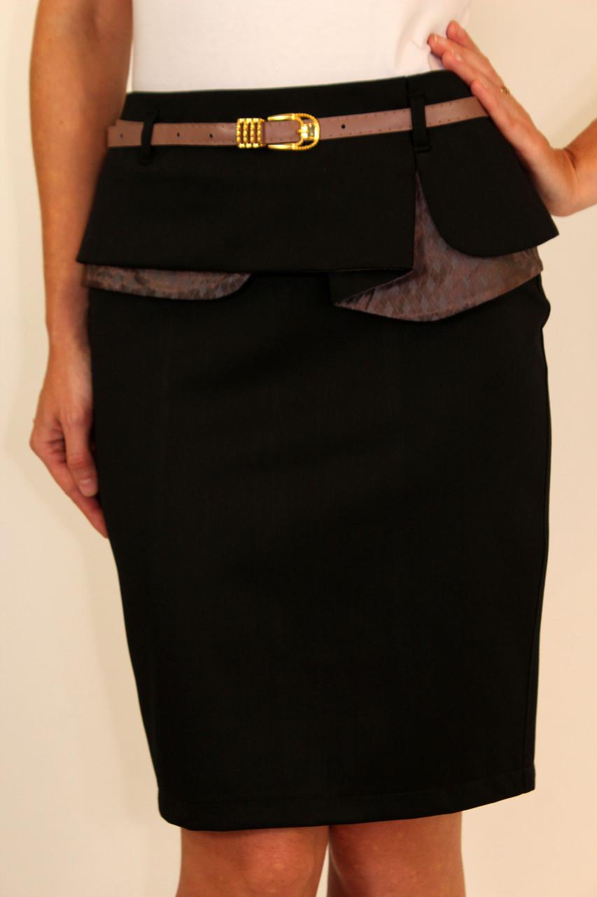 Офисная юбка карандаш с баской 42-48 р