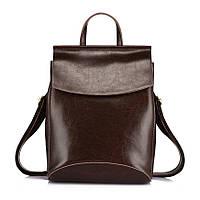 Рюкзак сумка женский кожаный с клапаном. Трансформер из натуральной кожи  (коричневый)