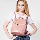 Рюкзак жіночий сумка шкіряна з клапаном. Трансформер з натуральної шкіри (бордовий), фото 3