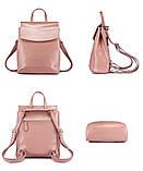 Рюкзак жіночий сумка шкіряна з клапаном. Трансформер з натуральної шкіри (бордовий), фото 6