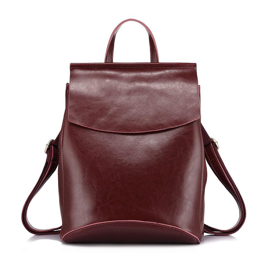 Рюкзак жіночий сумка шкіряна з клапаном. Трансформер з натуральної шкіри (бордовий)