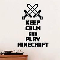 Виниловые интерьерные наклейки на стену Майнкрафт Mineckraft Keep Calm and Play