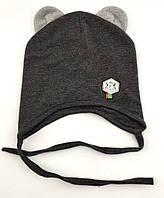Оптом шапки с 48 по 52 размер трикотажная детская шапка головные уборы с ушками детские опт, фото 1