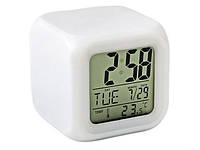 Часы настольные RIAS хамелеон 7в1 с термометром и будильником White (3_6444), фото 1