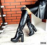 Шикарные демисезонные ботфорты на каблуке черные кожаные, фото 6