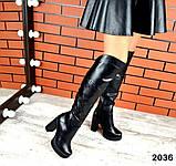 Шикарные демисезонные ботфорты на каблуке черные кожаные, фото 4