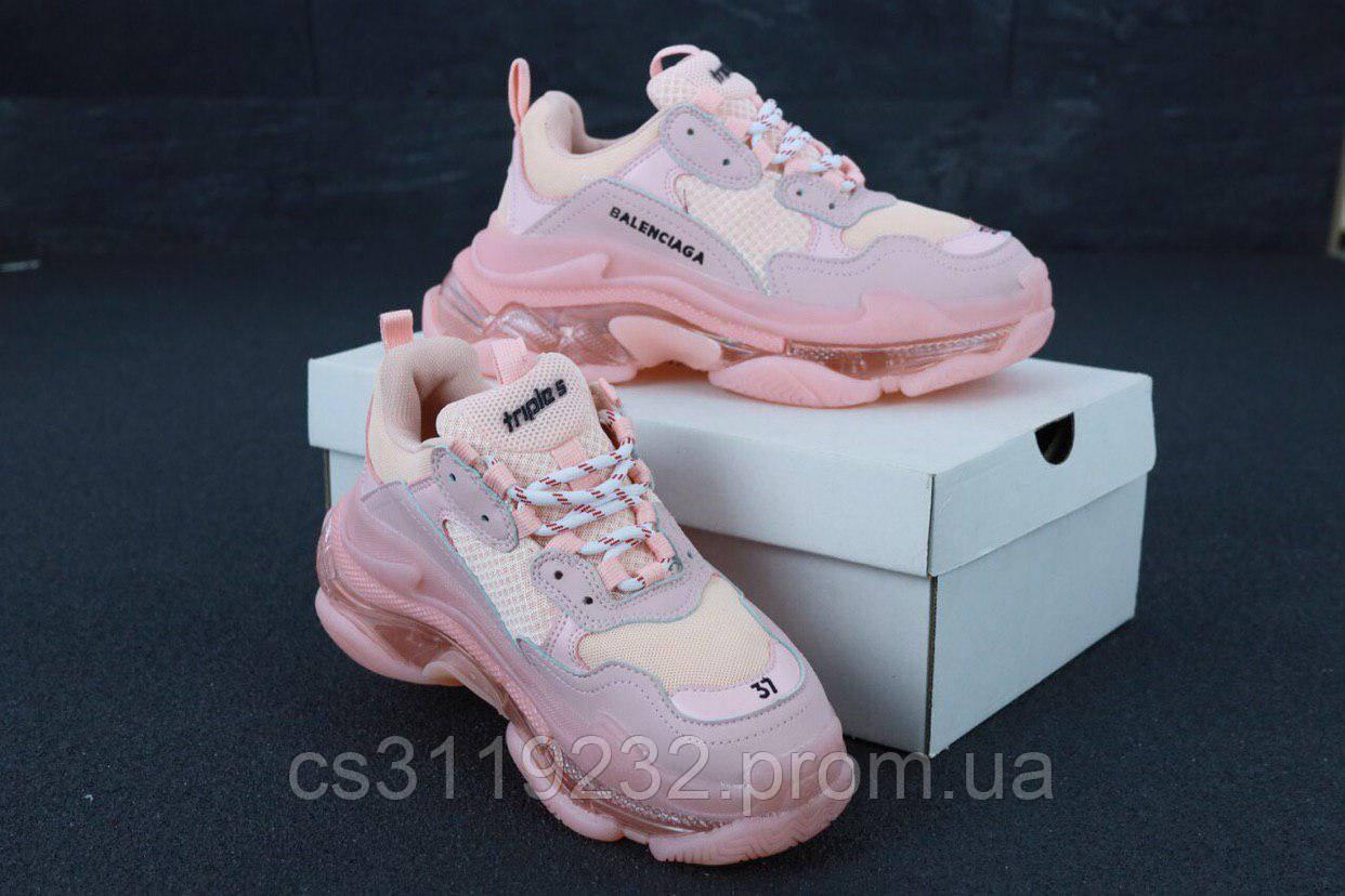 Женские кроссовки Balenciaga Triple-S (розовые)