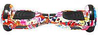 "Гироборд 6,5"" RIAS Самобаланс, Led, Bluetooth, сумка, пульт Flowers Graffiti (3_6848), фото 1"