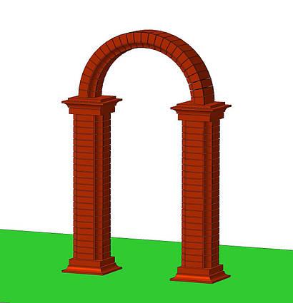 Арка садовая для калитки забора или ворот городского парка из бетонных блоков, кирпичей арочных в сад и двор.