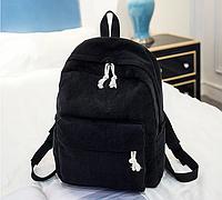 Рюкзак женский вельветовый городской модный: Черный