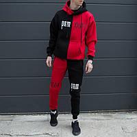 Теплый мужской спортивный костюм трехнить на флисе ХО красный с черным