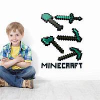 Виниловые интерьерные наклейки на стену Майнкрафт Mineckraft Оружие